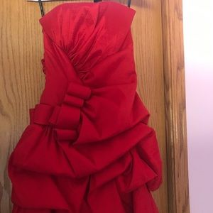 Jessica McClintock red strapless homecoming dress